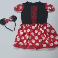 Fantasia Minie com tiara decorada - vestido - tamanho 06 - 6 anos - Sem marca