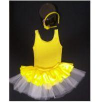 Fantasia Bela Bailarina com tiara decorada - Tamanho 2 - 18 a 24 meses - Sem marca