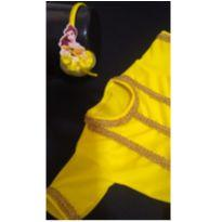 Fantasia Princesa Bela com tiara decorada - tamanho 01 - 12 a 18 meses - Sem marca