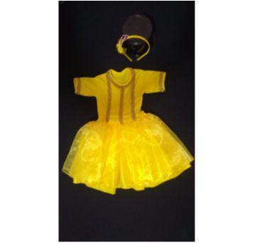 Fantasia Princesa Bela com tiara decorada - tamanho 4 - 4 anos - Sem marca