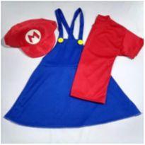 Fantasia Super Mario Bros Feminina Infantil - tamanho 06 - 6 anos - Sem marca