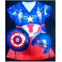 Fantasia Capitão América Feminino Infantil com acessorios -  - Não informada