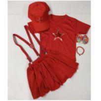 Fantasia Gih - aventureira vermelha com bone infantil - tamanho 06 - 6 anos - Sem marca