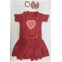 Fantasia Gih  coração -aventureira vermelha com acessórios-infantil - tamanho 4 - 4 anos - Sem marca
