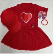 Fantasia Gih coração - infantil com acessórios e boné - tamanho 2 - 2 anos - Sem marca
