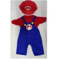 Fantasia Super Mario Bros com boina  infantil - tamanho 01 - 1 ano - Sem marca