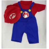 Fantasia Super Mario Bros com boina  infantil - tamanho 08 - 7 anos - Sem marca