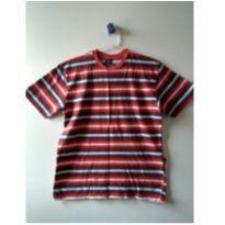 Camiseta listrada vermelha, azul e branca - 12 anos - Hering Kids