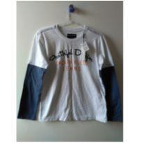 Camiseta manga longa branca e azul - 10 anos - Calvin Klein