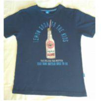 Camiseta azul marinho com garrafinha - 10 anos - Hering Kids