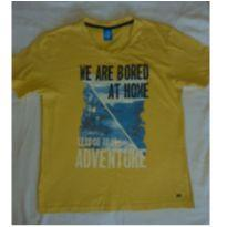 Camiseta amarela com desenho azul - 12 anos - Hering Kids