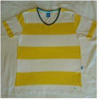 Camiseta listrada amarela e branca - 12 anos - Hering Kids
