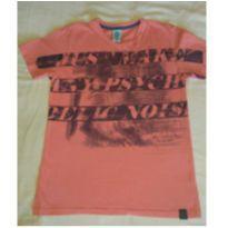 Camiseta salmão/rosa com estampa - 11 anos - Cativa