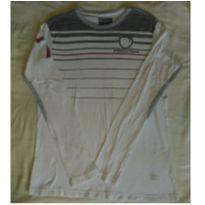 Camiseta manga longa  branca e cinza com bordado - 13 anos - Calvin Klein