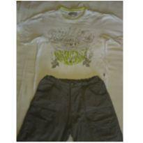 Conjunto 1MAIS 1 de camiseta bordada e bermuda - 8 anos - Um mais um