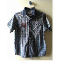camisa xadrez azul com bordado - 13 anos - Não informada