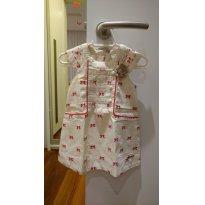Vestido Milon arrumadinho - bege com detalhe em vermelho - 9 a 12 meses - Milon