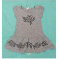 Vestido cinza com flores tribais - 2 anos - Jaca lele