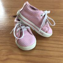 Tênis rosa com bolinhas brancas - 19 - Tricae