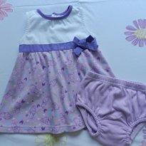 Verão - Vestido branco e lilás Pooh - 6 meses - Não informada