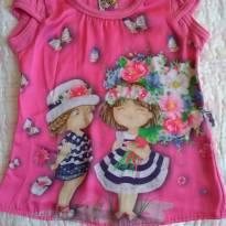 Blusa rosa malha atrás e nas mangas e seda na frente - TAM 4 - 4 anos - Beijinho
