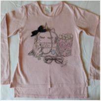 Blusa manga comprida, rosê com estampa e aplicações - TAM 6 - 6 anos - Quimby