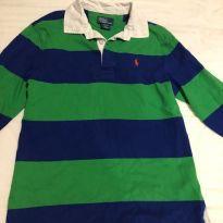 camisa manga longa polo ralph lauren malha listras - 10 anos - Ralph Lauren