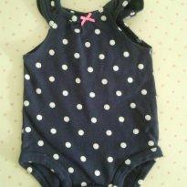 Body azul marinho de poá branco Carters - 3 meses - Carter`s