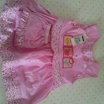 Vestidinho Floral rosa com calcinha - Tam. G - 6 a 9 meses - Não informada