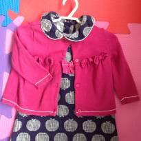 Vestidinho Azul Marinho com casaquinho Fúcsia - 9 a 12 meses - Gymboree