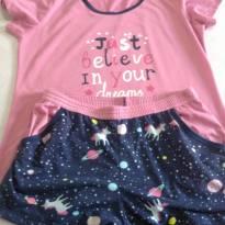 Pijama Gracioso Rosa  e azul - G - 44 - 46 - Não informada