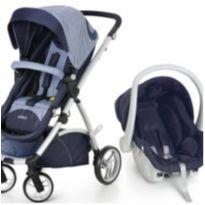 Kit Carrinho de bebê Maly Azul Jeans + bebê conforto -  - Galzerano e Dzieco