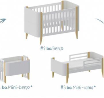 Berço BO 3 em 1 cinza e branco - configurável para mini-berço, berço e mini-cama - Sem faixa etaria - CIA DO MÓVEL