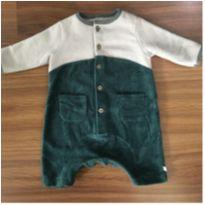 Romper Green fleece e veludo - 3 a 6 meses - Green