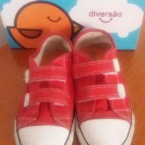Tênis infantil vermelho velcro - 34 - Diversão calçados