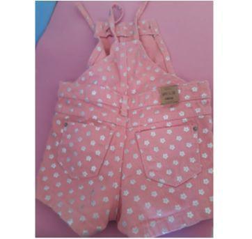 Jardineira sarja cor rosa - 09 a 12 meses - 9 a 12 meses - Baby Club