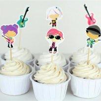 24 Toppers para Cupcakes - Rock and Roll - Sem faixa etaria - Importada