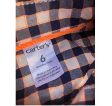 Body camisa Carters - 6 meses - Carter`s