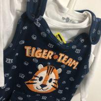 jardineira tigre bebê com body - 0 a 3 meses - Tip Top