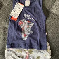 Pijama Blusa e shorts - 3 a 6 meses - Hering Kids