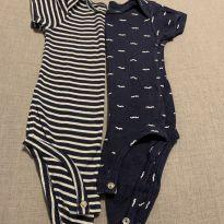 Kit 2 Bodies bigodes e listras - 9 a 12 meses - Carter`s