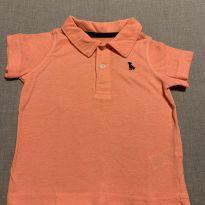 Camiseta polo Salmão - 9 a 12 meses - Carter`s