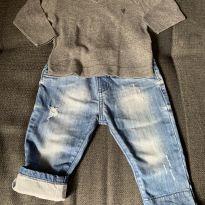 Calça Jeans + Malha - 6 a 9 meses - VR Kids