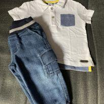 Calça Jeans + Camiseta Polo - 9 a 12 meses - Paola BimBi