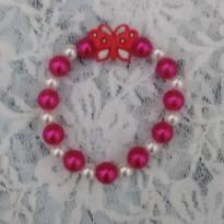 Pulsera borboleta rosa -  - Artesanal