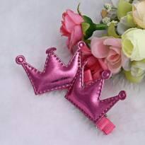Par de presilhas coroa pink -  - Importada
