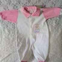 macacão branco com rosa - 0 a 3 meses - LUIZINHO BABY