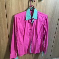 Camisa Dudalina (original) rosa e verde turquesa - M - 40 - 42 - Dudalina