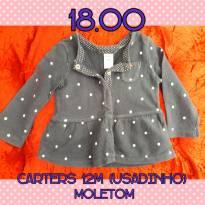 Casaco em moletinho Carters 12M (usadinho) - 12 a 18 meses - CARTERS/TIPTOP/ZARA