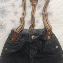 shorts jeans com suspensório lindo de viver!!! - 6 a 9 meses - Nacional